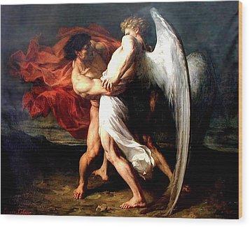 Jacob Wrestling With The Angel Wood Print by Alexander Louis Leloir