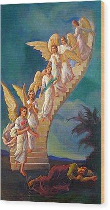 Wood Print featuring the painting Jacob's Ladder - Jacob's Dream by Svitozar Nenyuk