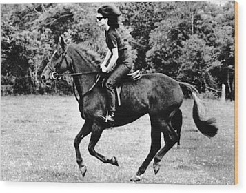 Jacqueline Kennedy, Riding A Horse Wood Print by Everett