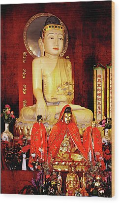 Jade Buddha Jing'an Temple Shanghai Wood Print by Christine Till