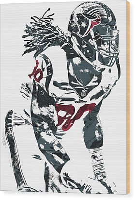Jadeveon Clowney Houston Texans Pixel Art Wood Print by Joe Hamilton