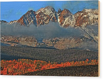 Wood Print featuring the photograph Jagged Peaks Fall by Scott Mahon