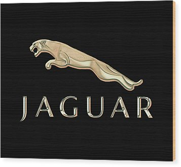 Jaguar Car Emblem Design Wood Print by Walter Colvin