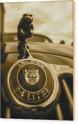 Jaguar Car Mascot Wood Print by John Colley