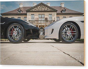 Jaguar F-type - Black And White Wood Print