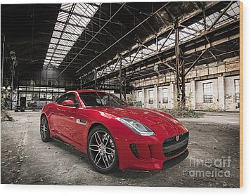 Jaguar F-type - Red - Front View Wood Print