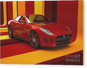 Jaguar F-type - Red Retro Wood Print