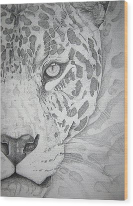Jaguar Pointillism Wood Print by Mayhem Mediums