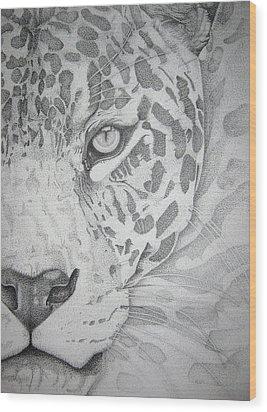 Jaguar Pointillism Wood Print