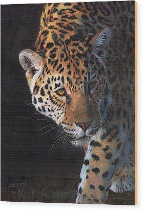 Jaguar Portrait Wood Print by David Stribbling