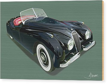 Jaguar Xk 120 Illustration Wood Print