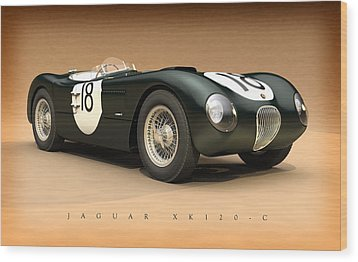 Jaguar Xk120-c Wood Print by Pete Chadwell