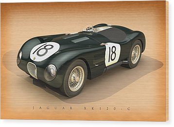 Jaguar Xk120-c Three-quarters Wood Print by Pete Chadwell
