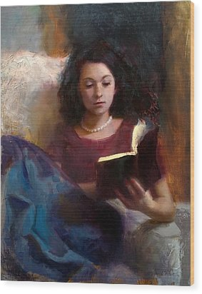 Wood Print featuring the painting Jaidyn Reading A Book 1 - Portrait Of Young Woman by Karen Whitworth