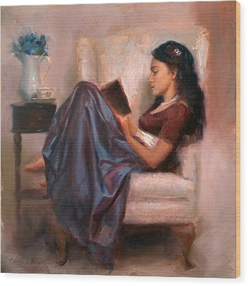 Wood Print featuring the painting Jaidyn Reading A Book 2 - Portrait Of Woman by Karen Whitworth