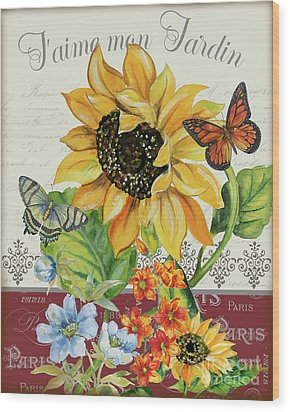 Wood Print featuring the painting J'aime Mon Jardin-jp3987 by Jean Plout