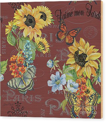 Wood Print featuring the painting Jaime Mon Jardin-jp3988 by Jean Plout