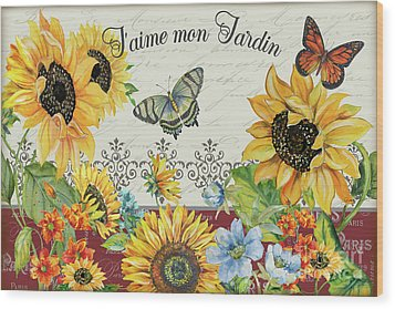 Wood Print featuring the painting Jaime Mon Jardin-jp3990 by Jean Plout