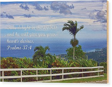 Jamaican Ocean View Ps. 37v4 Wood Print