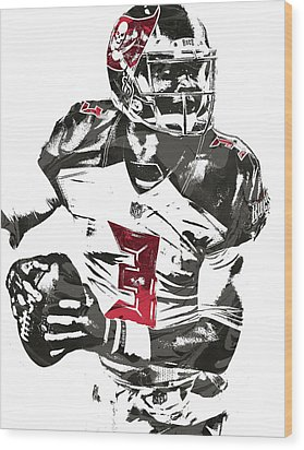 Wood Print featuring the mixed media Jameis Winston Tampa Bay Buccaneers Pixel Art by Joe Hamilton