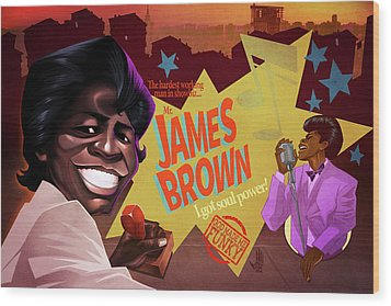 James Brown Wood Print by Nelson Dedos Garcia