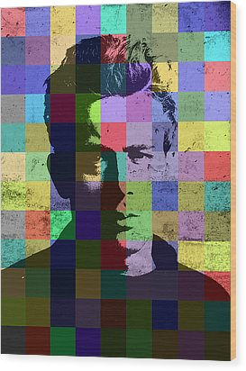 James Dean Actor Hollywood Pop Art Patchwork Portrait Pop Of Color Wood Print