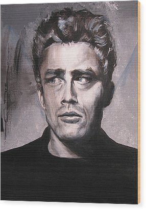 James Dean Two Wood Print by Eric Dee