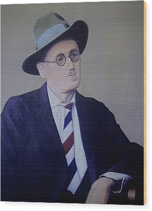 James Joyce Wood Print by Eamon Doyle