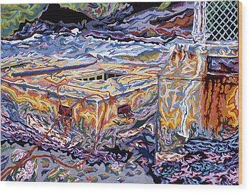Jamestown Sea Construction Site Wood Print by Robert SORENSEN