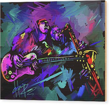 Wood Print featuring the painting Jammin' The Funk by DC Langer