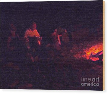 Jamming By The Fire Wood Print by JoAnn SkyWatcher