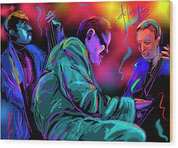 Wood Print featuring the painting Jamming With Oscar by DC Langer