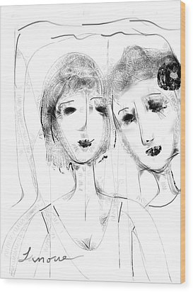 Wood Print featuring the digital art Jane And June by Elaine Lanoue