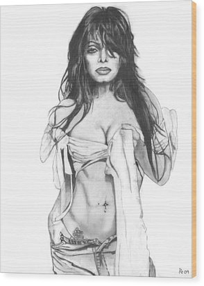 Janet Jackson Wood Print by Russell Griffenberg