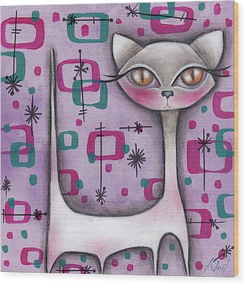 Janice Cat Wood Print by Abril Andrade Griffith