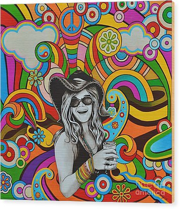 Wood Print featuring the painting Janis In Wonderland by Joseph Sonday