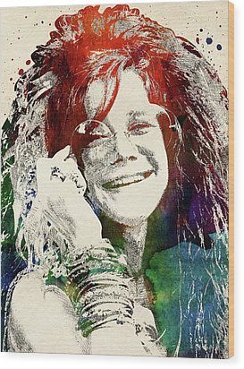 Janis Joplin Wood Print by Mihaela Pater