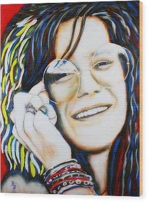 Wood Print featuring the painting Janis Joplin Pop Art Portrait by Bob Baker
