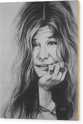 Janis Joplin Wood Print by Steve Hunter