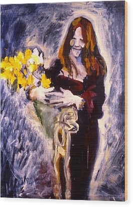 Janis With Yellow Roses Wood Print by Les Leffingwell