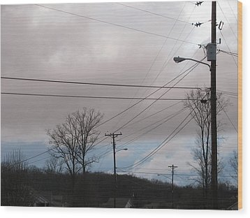 Wood Print featuring the photograph January Blue Sky by Lindie Racz
