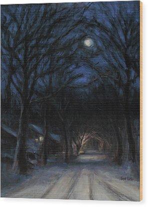January Moon Wood Print by Sarah Yuster