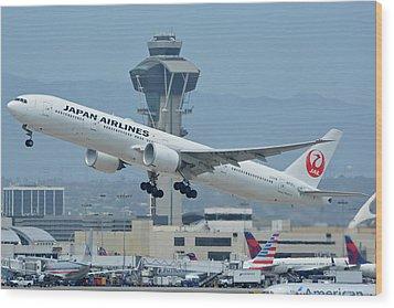 Japan Airlines Boeing 777-346er Ja737j Los Angeles International Airport May 3 2016 Wood Print by Brian Lockett