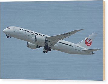 Japan Airlines Boeing 787-8 Ja835j Los Angeles International Airport May 3 2016 Wood Print by Brian Lockett
