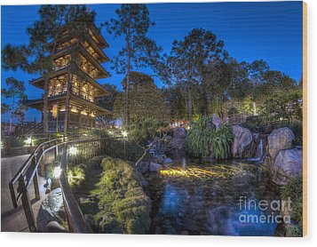 Japan Epcot Pavilion By Night. Wood Print