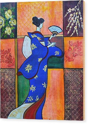 Japan Geisha Kimono Colorful Decorative Painting Ethnic Gift Decor Wood Print
