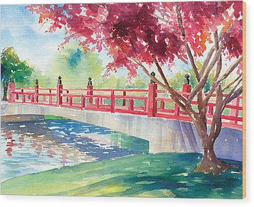 Japanese Bridge Wood Print by Denise Schiber