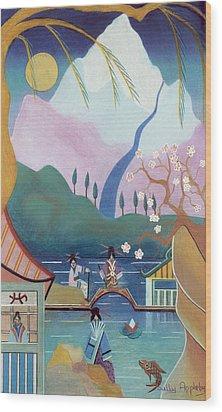 Japanese Bridge Wood Print by Sally Appleby