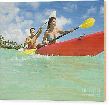 Japanese Couple Kayaking Wood Print by Dana Edmunds - Printscapes