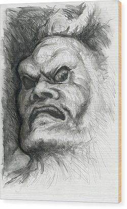 Japanese Demon Wood Print by Tim Thorpe